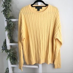 Brooks Brothers yellow cable knit golf sweater L